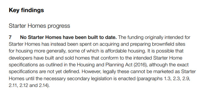 Quote from NAO's report on Starter Homes.